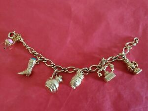 VINTAGE-AVON-GOLD-TONE-7-1-4-034-CHARM-BRACELET-WITH-6-CHARMS-SEE-DESCRIPTION