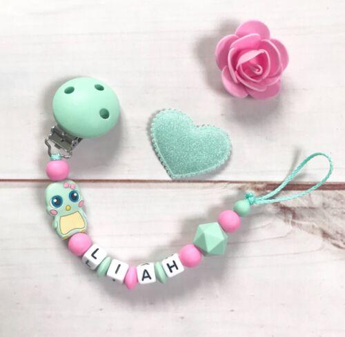 Schnullerkette Schnullerband Nuckelkette mit Namen rosa pink mintgrün Silikon