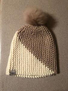 ca4e94da8b63e UGG knit beanie hat with pom pom white cream beige brown NWOT
