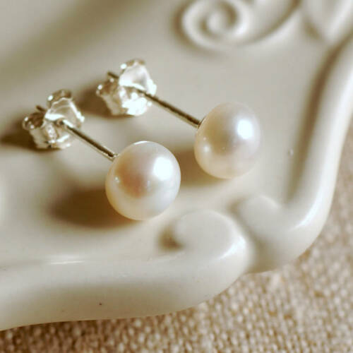 Gorgeous Freshwater Pearl Stud Earrings 925 Sterling Silver Gift for her