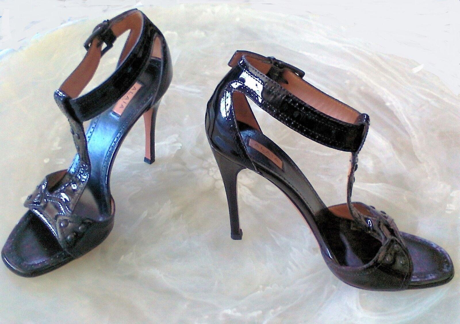 Alaia Damen 6.5 Blk Lackleder Open Toe Knöchel T-Riemen Stiletto Absatz