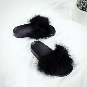 officiel de vente chaude meilleur endroit pour large éventail Détails sur Femme fourrure tongs sandales mules claquettes chaussons  pantoufles Fluffy Noir