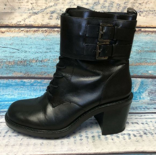 Zara Women Black Leather Biker Boots Size 10