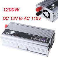 Portable Car Power Inverter 1200W WATT DC 12V to AC 110V Charger Converter
