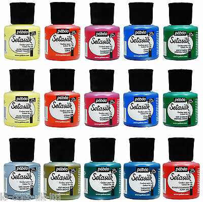 PEBEO SETASILK FABRIC SILK PAINT COLOURS 45ml POTS - WHOLE RANGE AVAILABLE