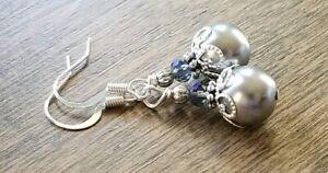 Grey-pearl-drop-earrings-large-glass-beaded-Elegant-Purple-Czech-glass-beads