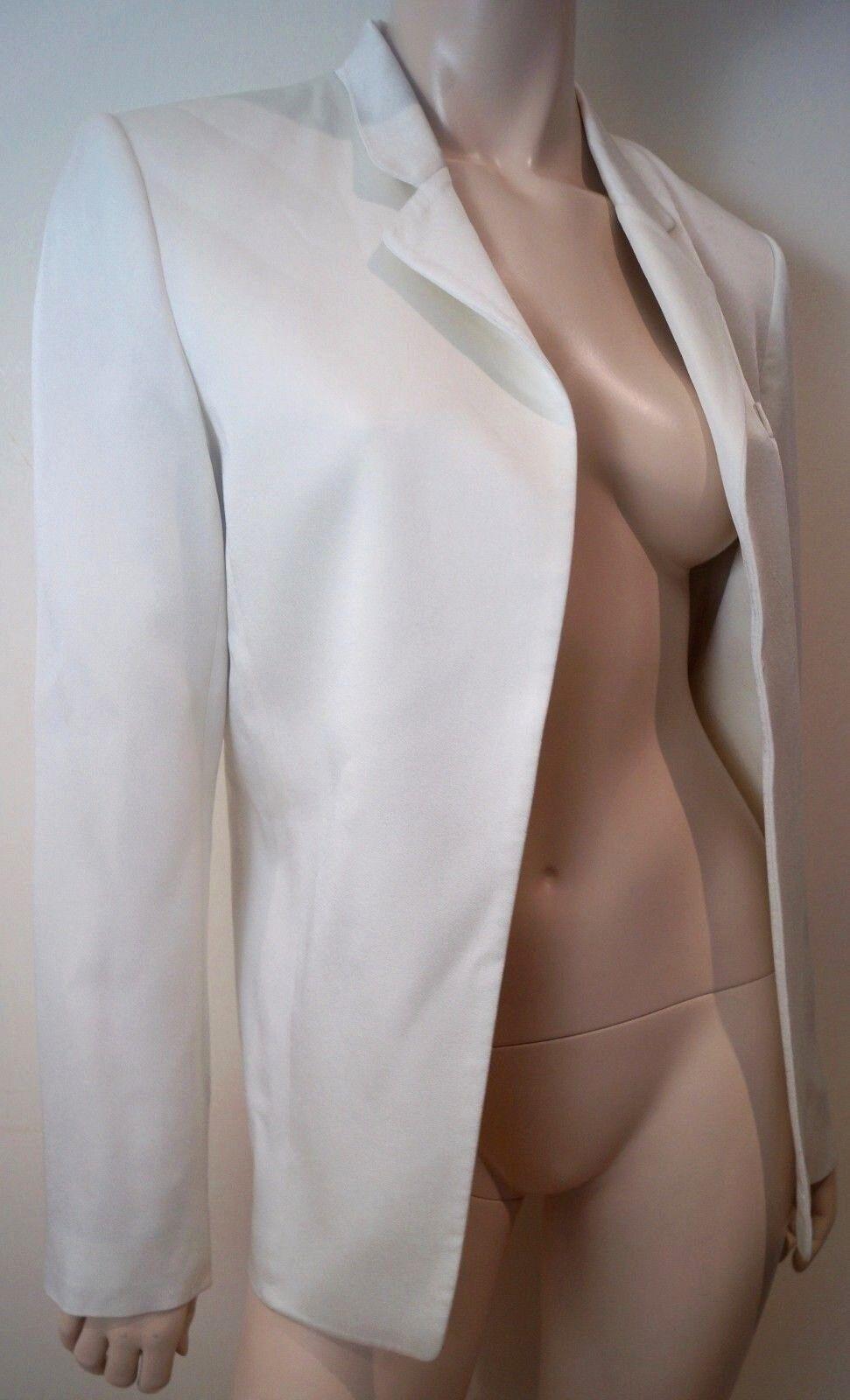 T BY ALEXANDER WANG Cream Open Front Lined Formal Evening Blazer jacke 6 UK10