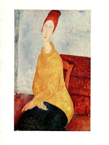 """1970 Vintage MODIGLIANI /""""YELLOW SWEATER/"""" COLOR offset Lithograph"""