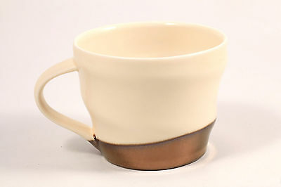 STARBUCKS Mug 2013 Cream Almond Bronze Hand Dipped Curved Swirl 12 Oz Coffee Cup