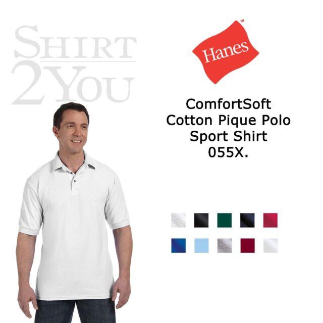 Hanes ComfortSoft Cotton Pique Polo Sport Shirt 055X Golf Sizes S-6XL