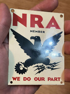 1930-s-NRA-We-Do-Our-Part-Tin-Sign-Very-Good-Condition-Very-RARE-3-x4-NICE