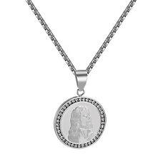 Stainless Steel Jesus Pendant Lab Diamonds Round Medallion Free 24 inch Necklace