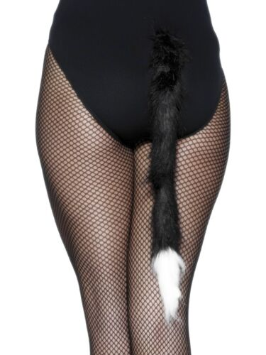 Black /& White Furry Cat/'s Tail Smiffys Party Fancy Dress 50cm