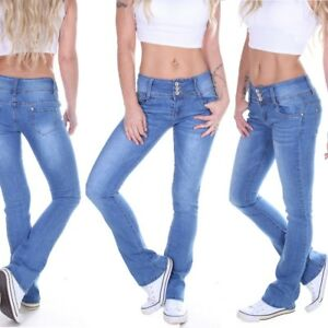 Details zu Damen Bootcut Jeans Schlaghose Hüftjeans Low Rise Schlagjeans Schlag Blau M57