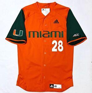 efbbfda10 Image is loading New-Adidas-MIAMI-HURRICANES-Men-s-Baseball-Jersey-