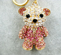 Lovely Bear Sweet Heart Charm Pendant Rhinestone Crystal Purse Bag KeyChain Gift