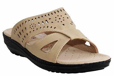 Mujer Damas Tacón Bajo Cuña resbalón en el Paseo De Verano Playa Mula Sandalias De Confort Zapatos