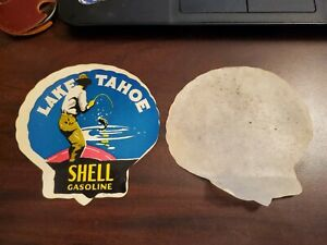 VINTAGE ORIGINAL 1920s LAKE TAHOE SHELL GASOLINE WATER DECAL  ~ Awesome Graphics