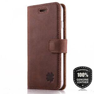 Premium Echtes Ledertasche Schutzhülle Wallet Flip Case (Nussbraun) - Motiv Klee