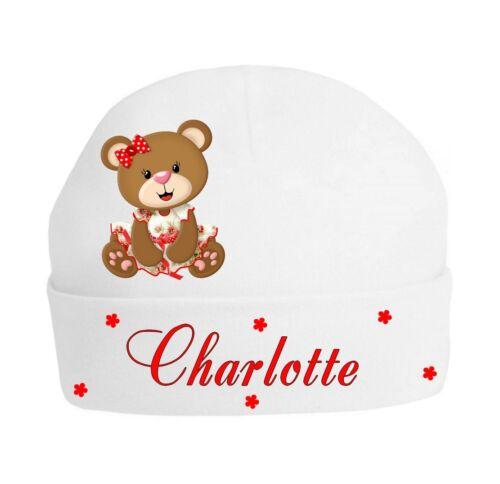 Bonnet Bébé ourson fille  personnalisé avec prénom