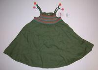 Gymboree Tropical Garden 12-18 Months Olive Green Smocked Dress