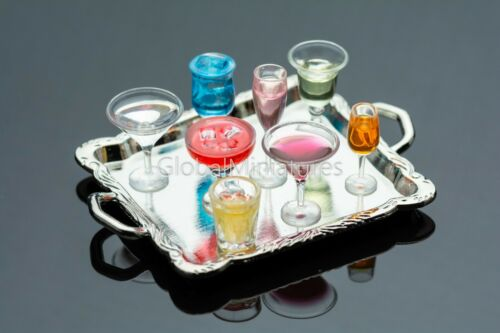and Vodka Whisky Tequila Champagne Dollhouse Miniatures Silver Tray of Wine