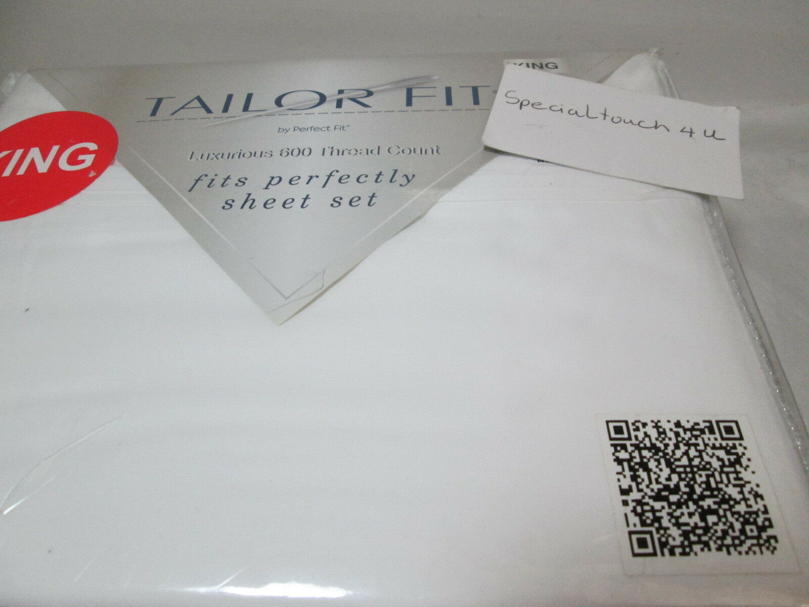 New Grace Home Fashions Tailor Fit by Perfect Fit White King Sheet Set 600 TC
