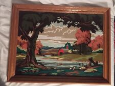 Painting Wood Framed Paint by Number Vintage Serene Farm Bridge Woods. 21x27""