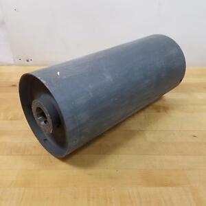 "Steel Conveyor Pulley Drum Roller 8"" Dia, 18"" OAL, 1-15/16"" Keyed Hole, 1/2 Key."