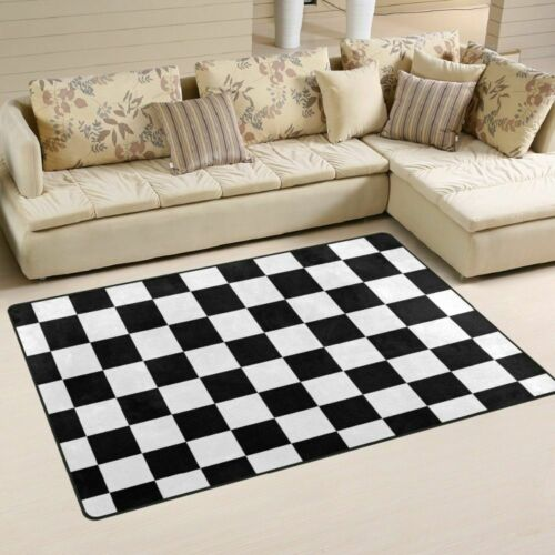 Non-slip Area Rugs Pad Cover Black White Checkered Pattern Floor Mat