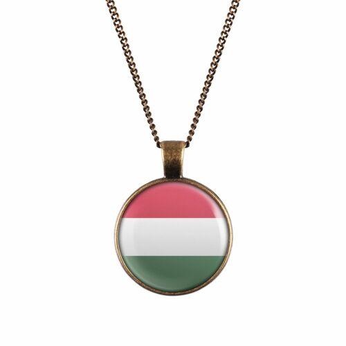 Mylery cuello-cadena con motivo Hungría Hungary bandera plata o bronce 28mm