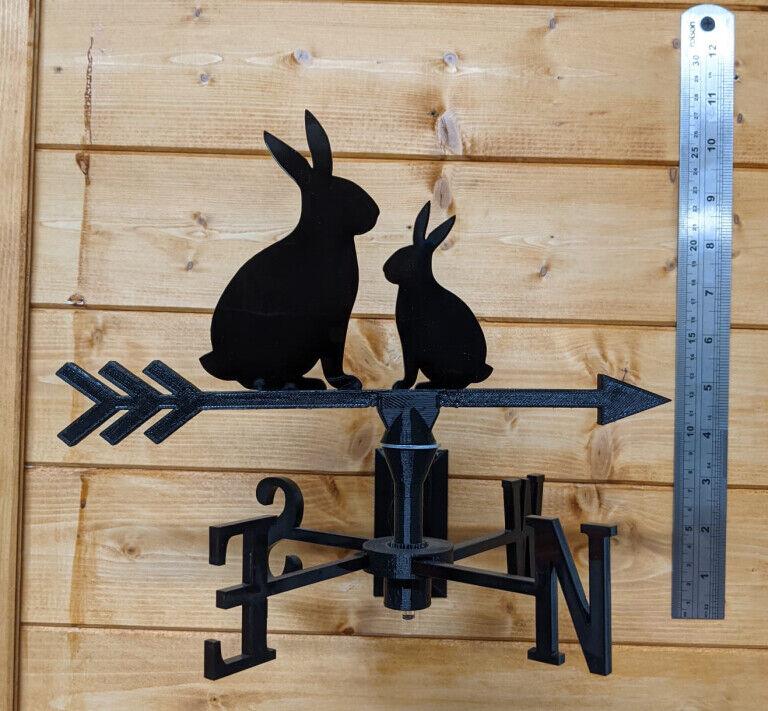 Rabbits Acrylic Garden Weather Vane Wall, Pole or Post Mounted