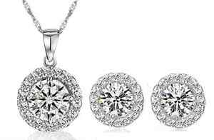 18-034-Silver-Cubic-Zirconia-Stone-Halo-Pendant-Stud-Earrings-Set-Chain-Gift-Box-S1