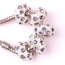 Fashion 5pcs Silver CZ nest big hole Beads Fit European Charm Bracelet DIY B#97