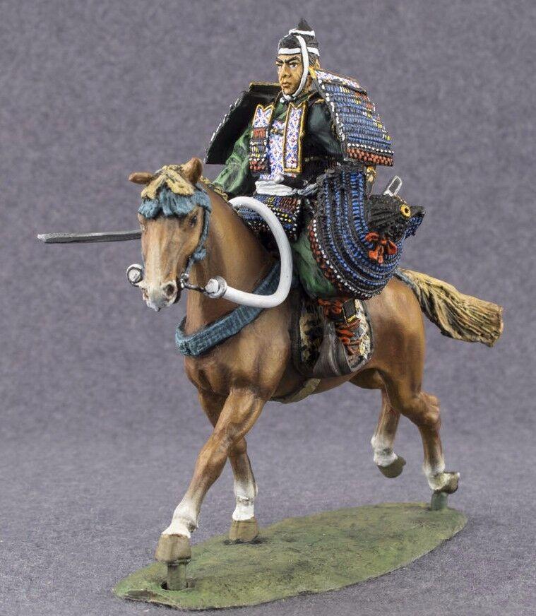 Figur japansk samuraj Målad leksak Soldier kavalleri 1  32 skala 54mm Metal