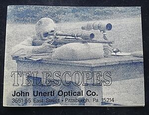John Unertl Optique Co.. Telescopic Sights Pittsburgh Pa 40 Page Booklet-afficher Le Titre D'origine