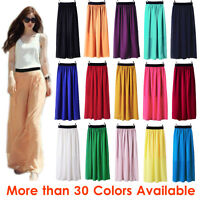 Women Double Layer Chiffon Pleated Retro Long Maxi Dress Elastic Waist Skirt GRL