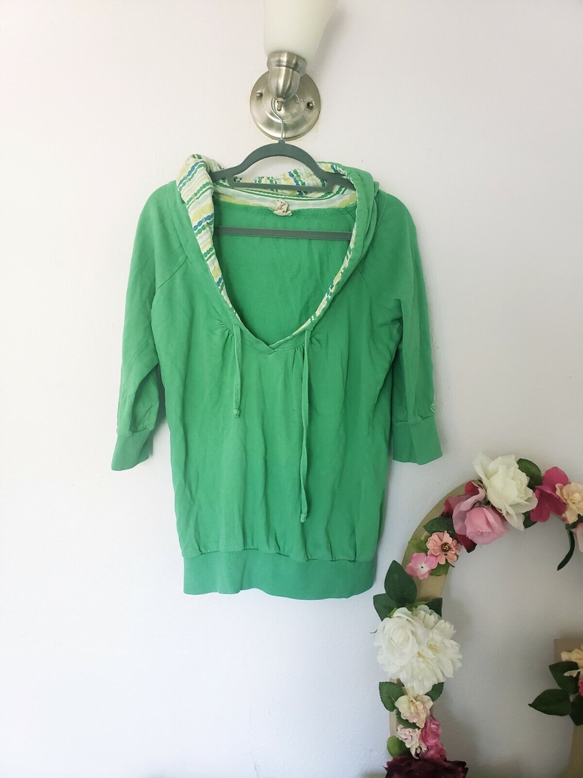 Green O'Neill Patterned Adjustable Hoodie Loose V Neck 3/4 Sleeve Pullover M/L