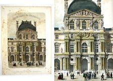 """Antique French Lithograph,Le Louvre, Aile Denon, """"ParisdanssaSplendeur"""""""