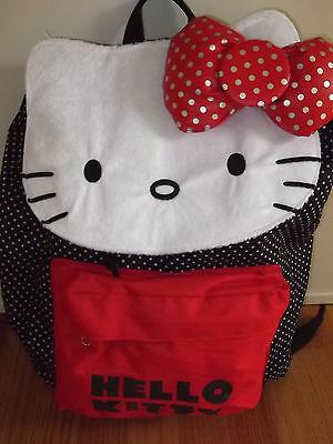 "New HELLO KITTY Kid/'s Girl/'s  Backpack  17 x 13x  6/"" Black LoungefLY Lightweight"