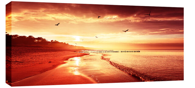 RED TONED SUNSET SEA BEACH CANVAS PICTURE  SEASCAPE WALL ART  BOX  113 CM x 52CM