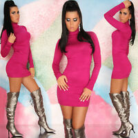 Sexy Jumper Mini Dress Women Knitted Polo Neck Ladies Top Pullover Size 8 10 12