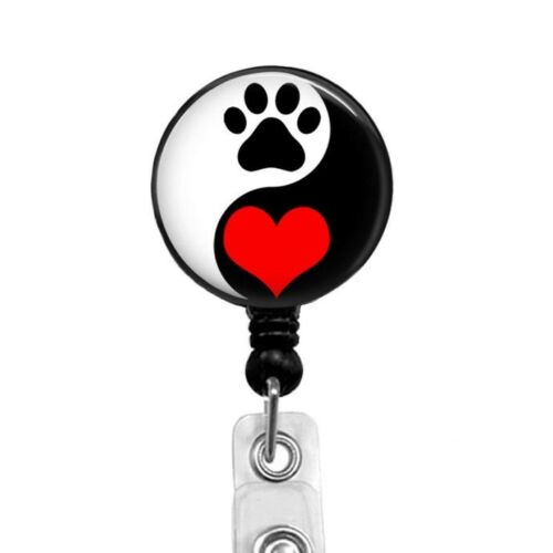 318A Yin Yang Dog Paw Print Red Heart Badge Reel Retractable Badge Holder
