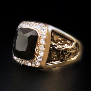 Men Gold Stainless Steel Black Baguette Onyx Gemstone Biker Ring