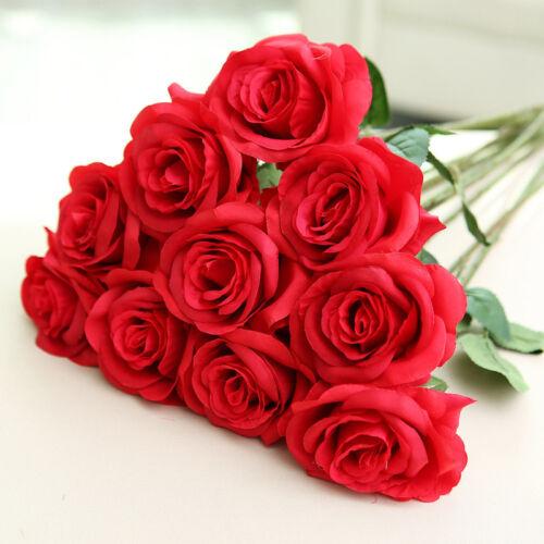 1 Bunch 20 Artificial Roses Silk Flower Stem Leaves Valentine Wedding Bouquet UK