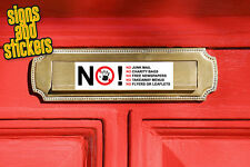 No Junk Mail letter box Sign Sticker - No Takeaway Menus No Charity Bags