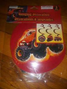 Details About Monster Truck Hanging Decoration 3pk Racing Birthday Party Streamers Supplies