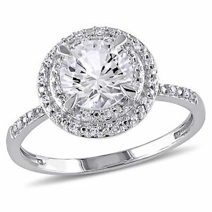 10k White Gold White Sapphire and 1/10 ct TDW Diamond Double Halo Ring G-H I1-I2
