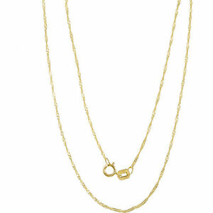 Genuine 10k yellow gold necklace 1mm singapore chain real image is loading genuine 10k yellow gold necklace 1mm singapore chain mozeypictures Gallery