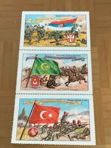 3-POSTER-STAMPS-VIGNETTES-BALKAN-WARS-TURKEY-SERBIA-MILITARY-from-around-1913
